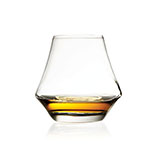 The Libbey Arome whisky glass has a bowl that is angled out and is shown containing about an ounce of whisky.