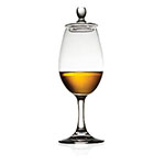 The Glencairn Copita has a longer stem and is shown containing about an ounce of whisky.