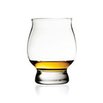 The Libbey Signature Kentucky Bourbon Trail whisky glass is shown containing about an ounce of whisky.