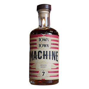 A bottle of Tom's Town Machine No. 7: Gridiron Whiskey.