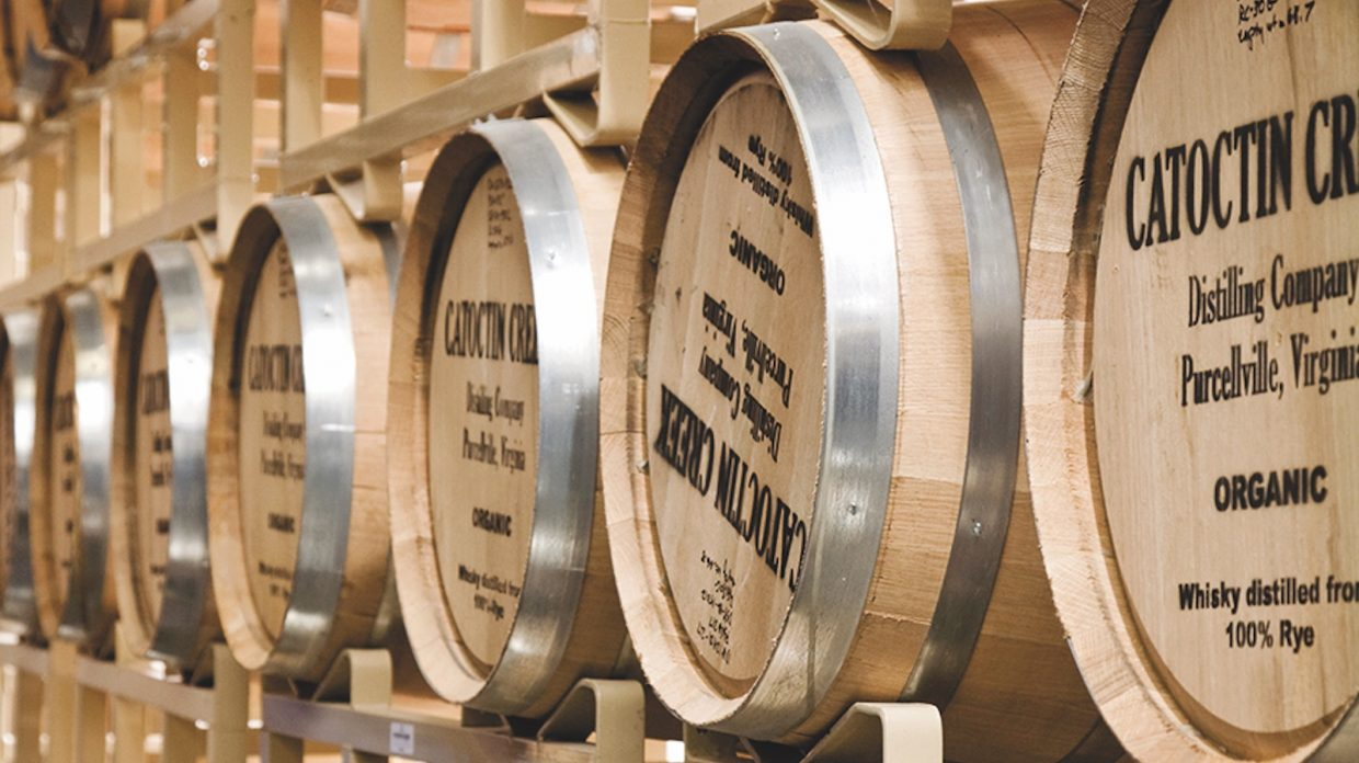 A row of barrels labeled Catoctin Creek.