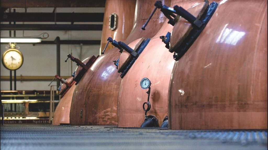 Two pairs of stills at the BenRiach Distillery.