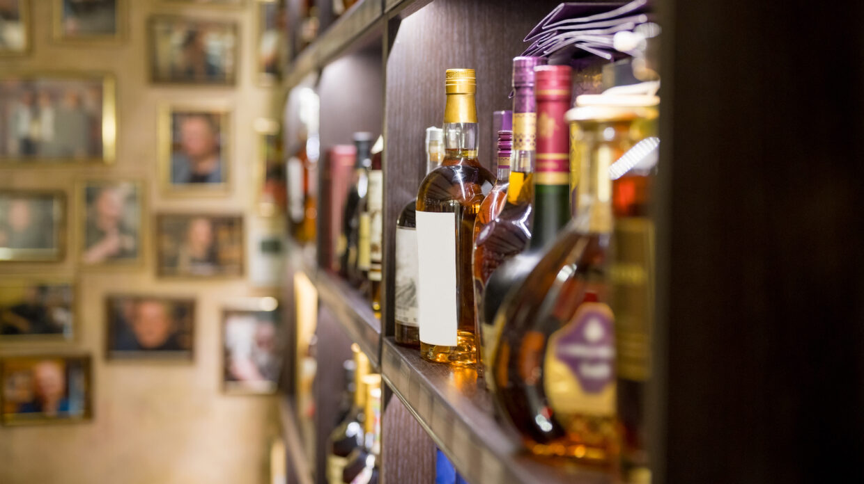 Various alcohol bottles in the bar