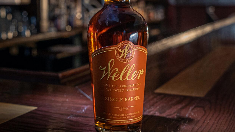 close up of bottle of weller single barrel bourbon