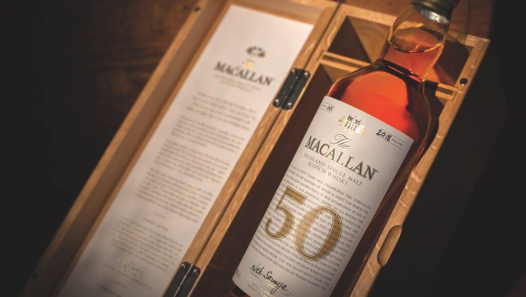 A bottle of Macallan 50 year old single malt.