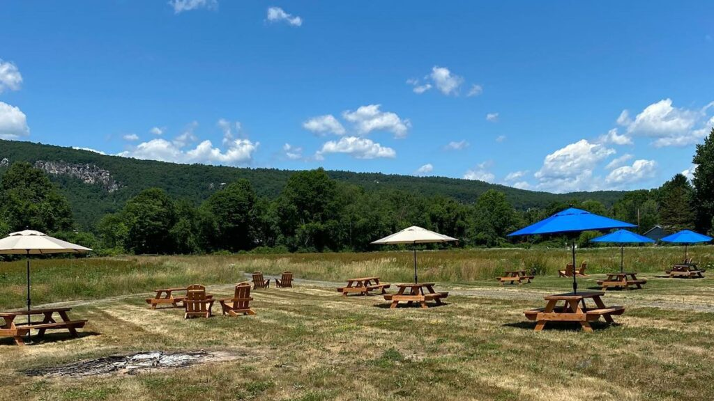 The farm seating at Coppersea Distillery in New Paltz, New York.