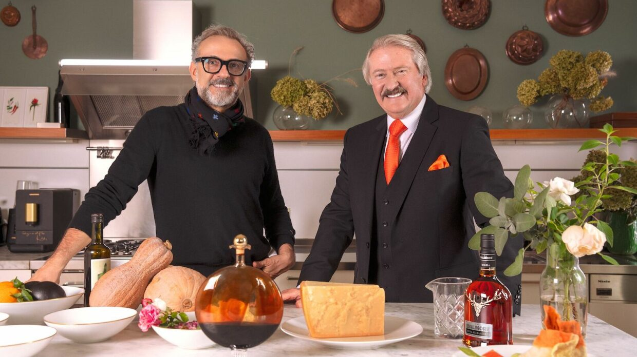 Chef Massimo Bottura and Dalmore master blender Richard Paterson in a kitchen with the Dalmore L'Anima 49 year old single malt scotch