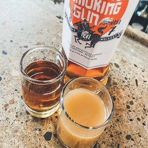 Dashi Back at Two James Spirits, which is a shot of Johnny Smoking Gun whiskey and ramen broth