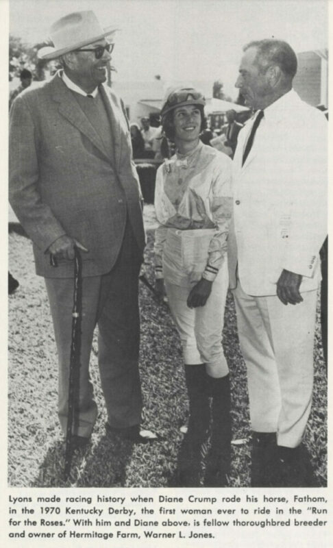 A black and white photograph from an old newspaper article shows jockey Diane Crump, the first woman to ride in the Kentucky Derby, along with W.L. Lyons Brown, who owned the horse, Fathom, she rode at the 1970 Derby, and thoroughbred breeder and owner of Hermitage Farm Warner L. Jones.