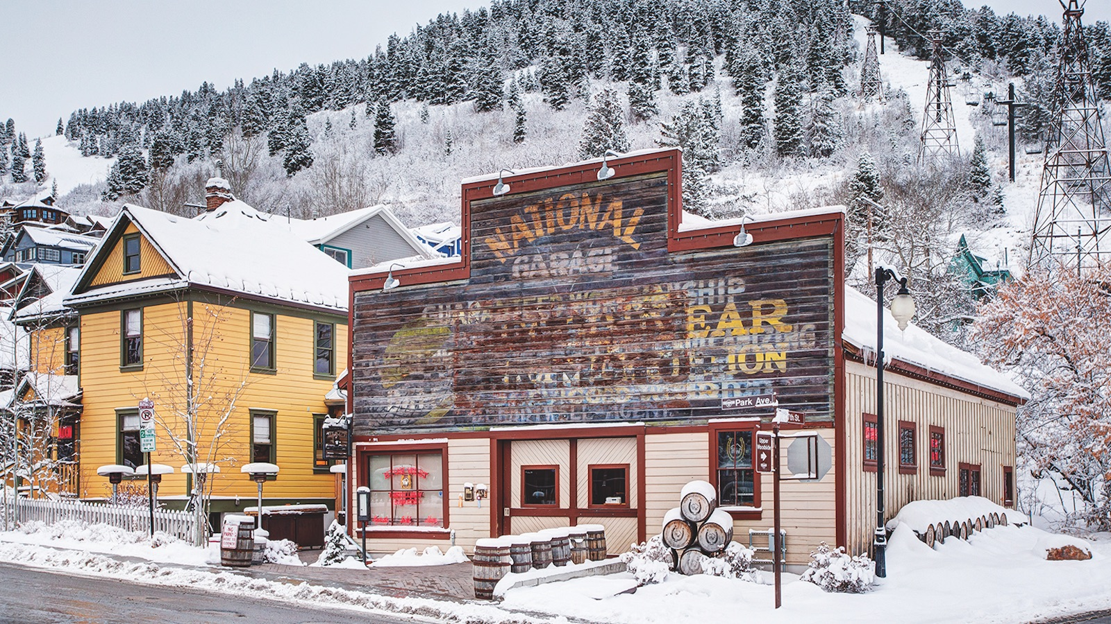 The High West Saloon in Park City, Utah in the winter snow
