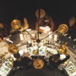 Aerial shot of the circular bar at The Family Jones in Denver