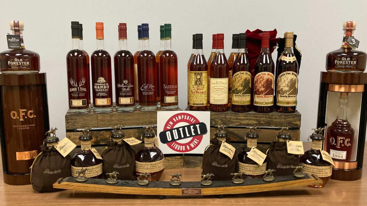 An assortment of whiskies being raffled off by the NHLC.