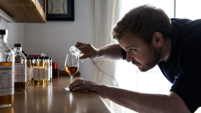 Adam Hannett blends whisky.