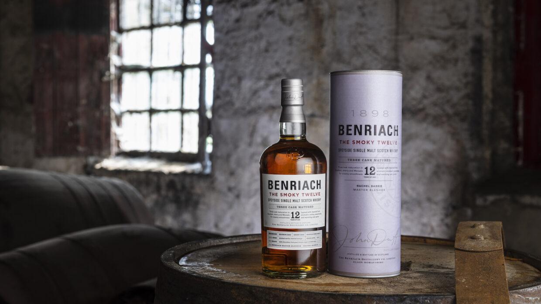 Benriach The Smoky Twelve single malt scotch in a cask warehouse