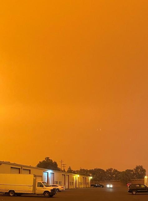 Orange sky above Charbay Distillery in Ukiah, California during September 2020 wildfires