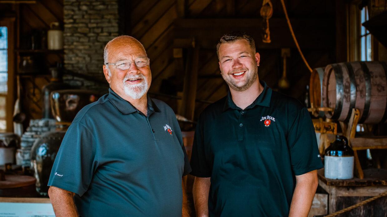 Jim Beam master distiller Fred Noe with son, Freddie Noe