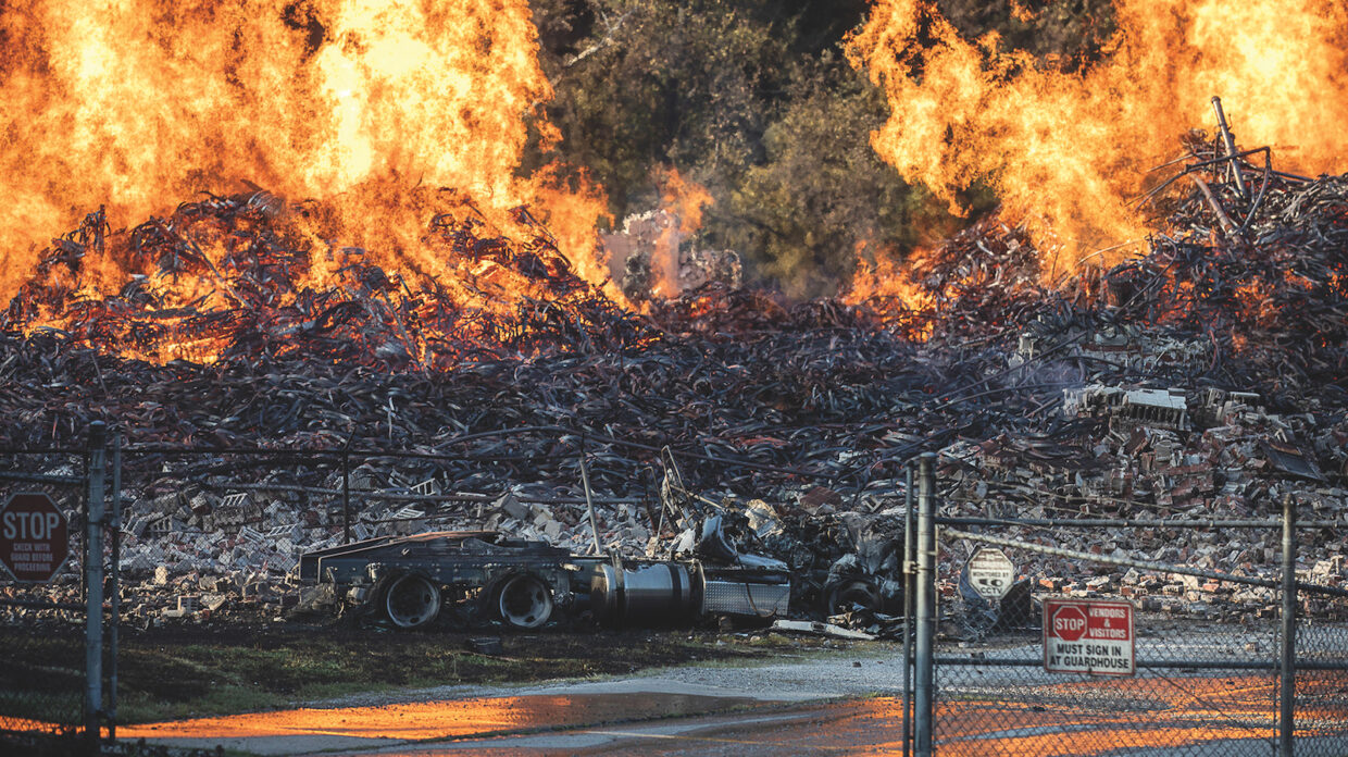 A Jim Beam warehouse in Woodford County, Kentucky burns on July 3, 2019.
