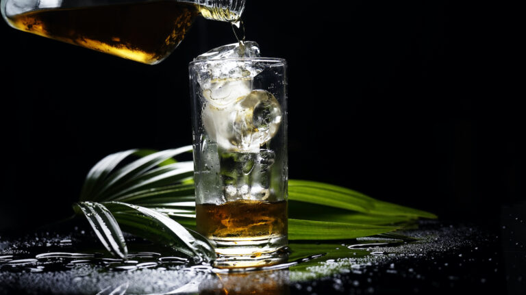 selective focus drink alcohol and water glass with whisky and Sparking water and ice cube with darken background