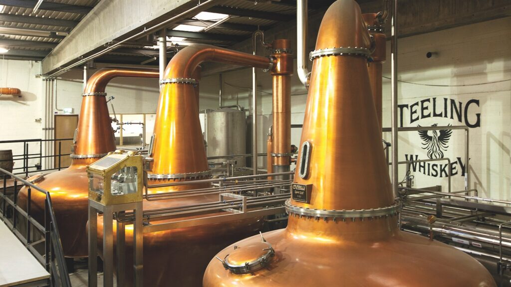 three copper pot stills at Teeling Distillery in Dublin
