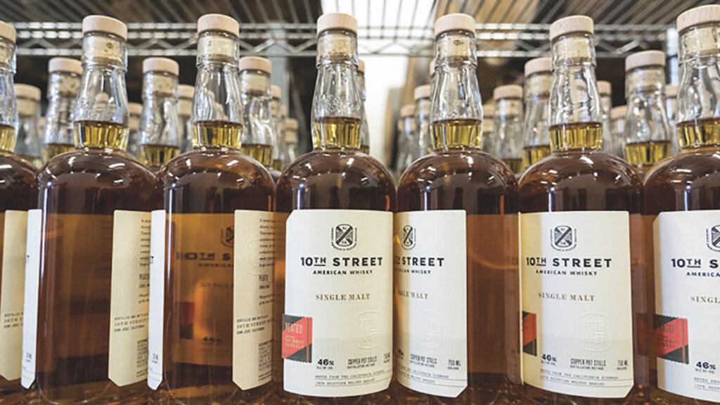 Bottles of 10th Street Distillery's American single malt whiskey at the distillery in San Jose, California.