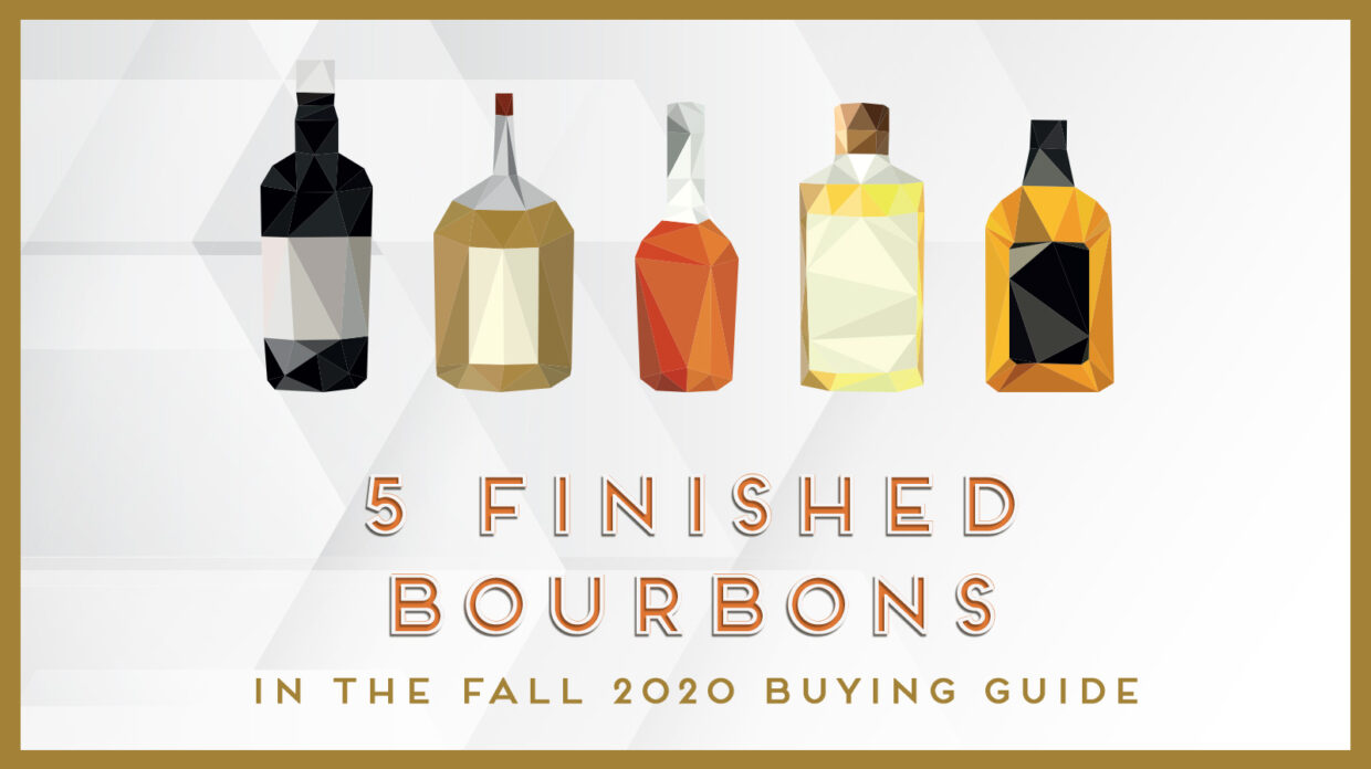 text with illustrated bottle shots that says 5 finished bourbons in the fall 2020 buying guide