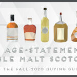 illustration of whisky bottles and text that reads 6 age statement single malt scotches in the fall 2020 buying guide
