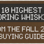 text illustration that reads 10 highest scoring whiskies from the fall 2020 buying guide
