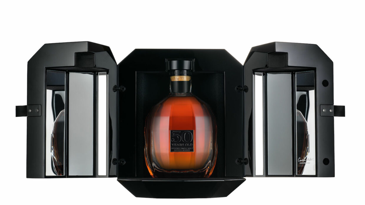 The 1968 Glenrothes 50 year old single malt scotch, bottle and package