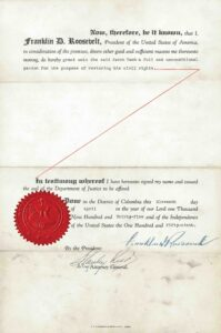 back of a pardon from franklin roosevelt for Jacob Taub
