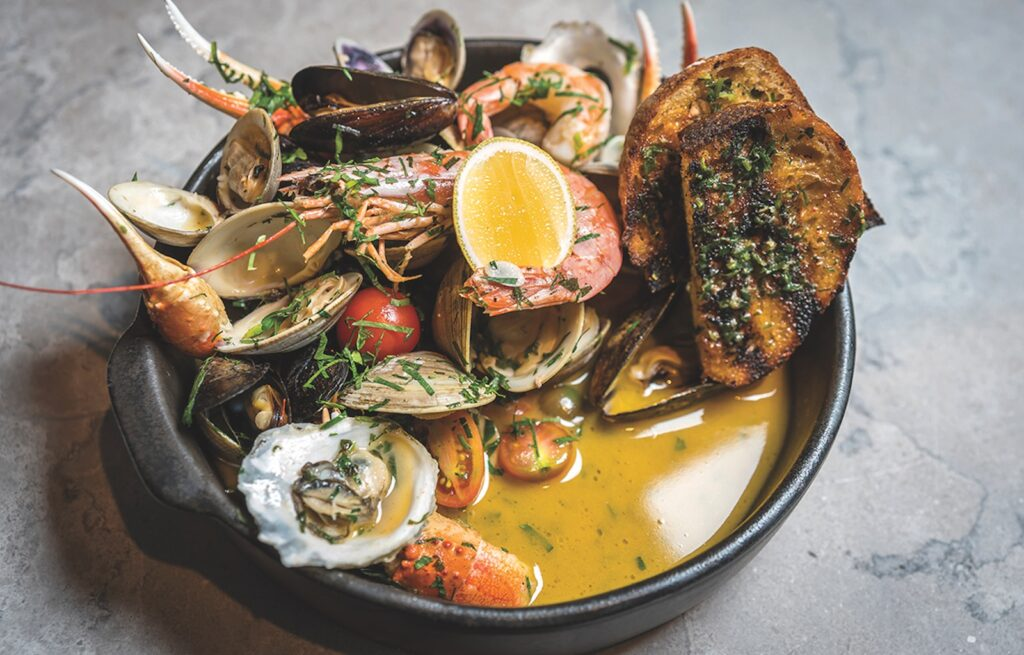 A plate of seafood offered at Rye Street Tavern.