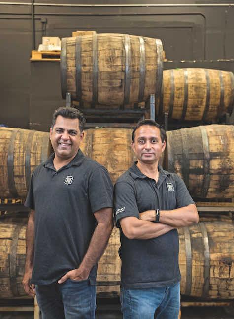Business partners Vishal Gauri (left) and Virag Saksena at their distillery, 10th Street Distillery, in San Jose, California.