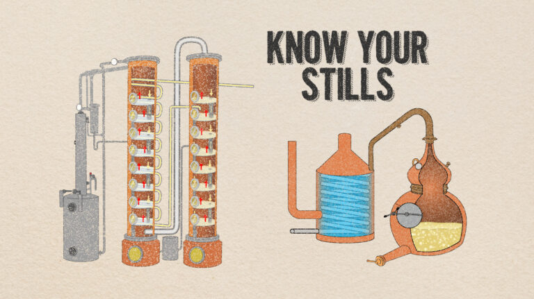 illustration of pot and column stills