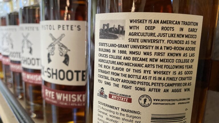 The back label of the NMSU rye