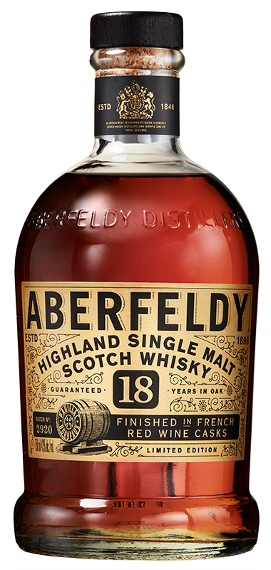 Aberfeldy 18 year old french red wine finish bottle shot