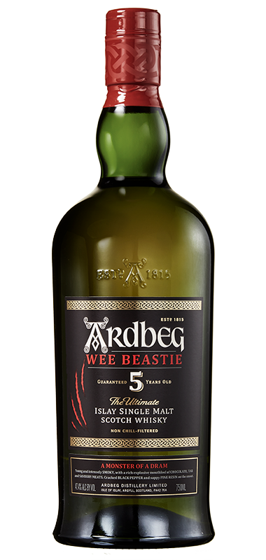 Ardbeg 5 year old wee beastie bottle shot