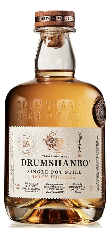 Drumshanbo Single Pot Still Irish Whiskey bottle shot