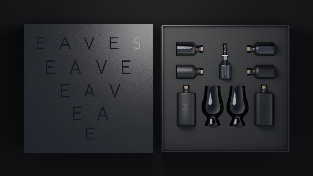 Eaves Blind tasting kit with branded black Glencairn glasses, opaque bottles, and a water dropper.