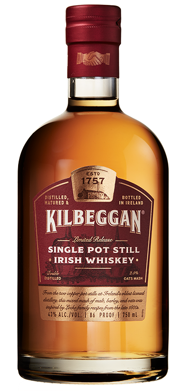 Kilbeggan Single Pot Still Irish Whiskey bottle shot