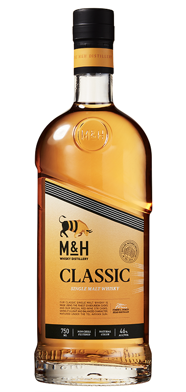 M&H Classic Israeli Single Malt bottle shot