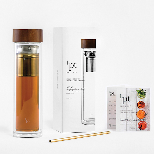 one part co. master infuser kit with glass bottle, straw, and box