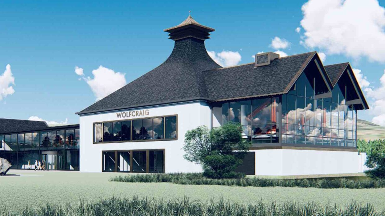 rendering of wolfcraig distillery in scotland