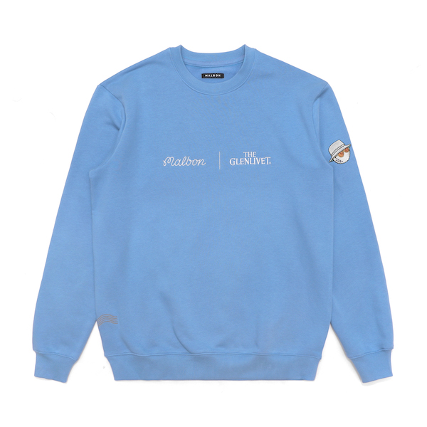 baby blue crewneck sweatshirt with Malbon and The Glenlivet logos embroidered on the front
