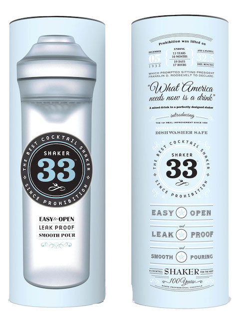The tube packaging for a cocktail shaker