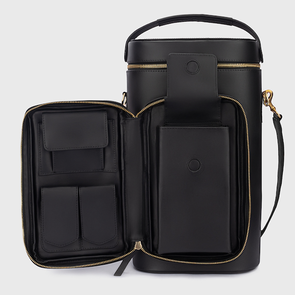 black leather carrying case for cigars and spirits