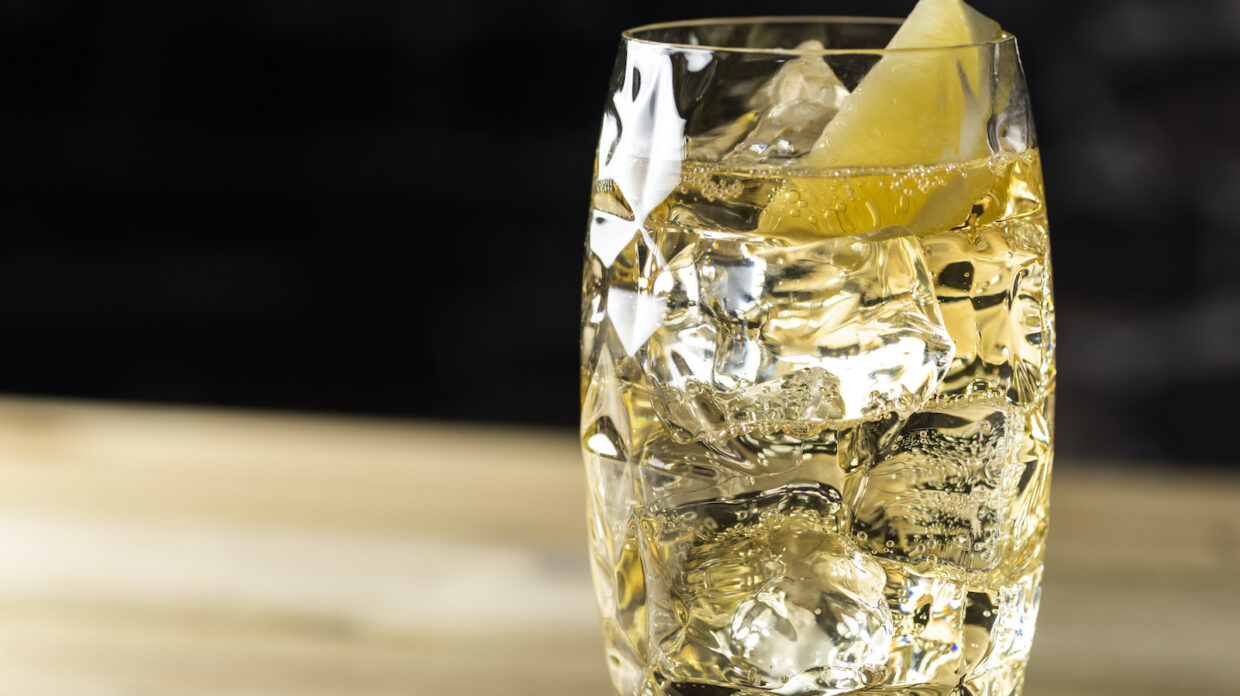 A fizzy cocktail with lemon wedge as a garnish