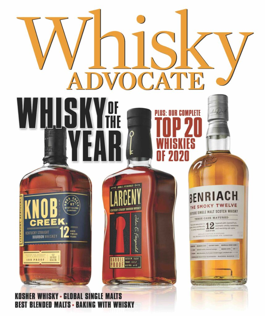 the cover of the winter 2020 issue of Whisky Advocate magazine, with three bottles and the text Whisky of the Year