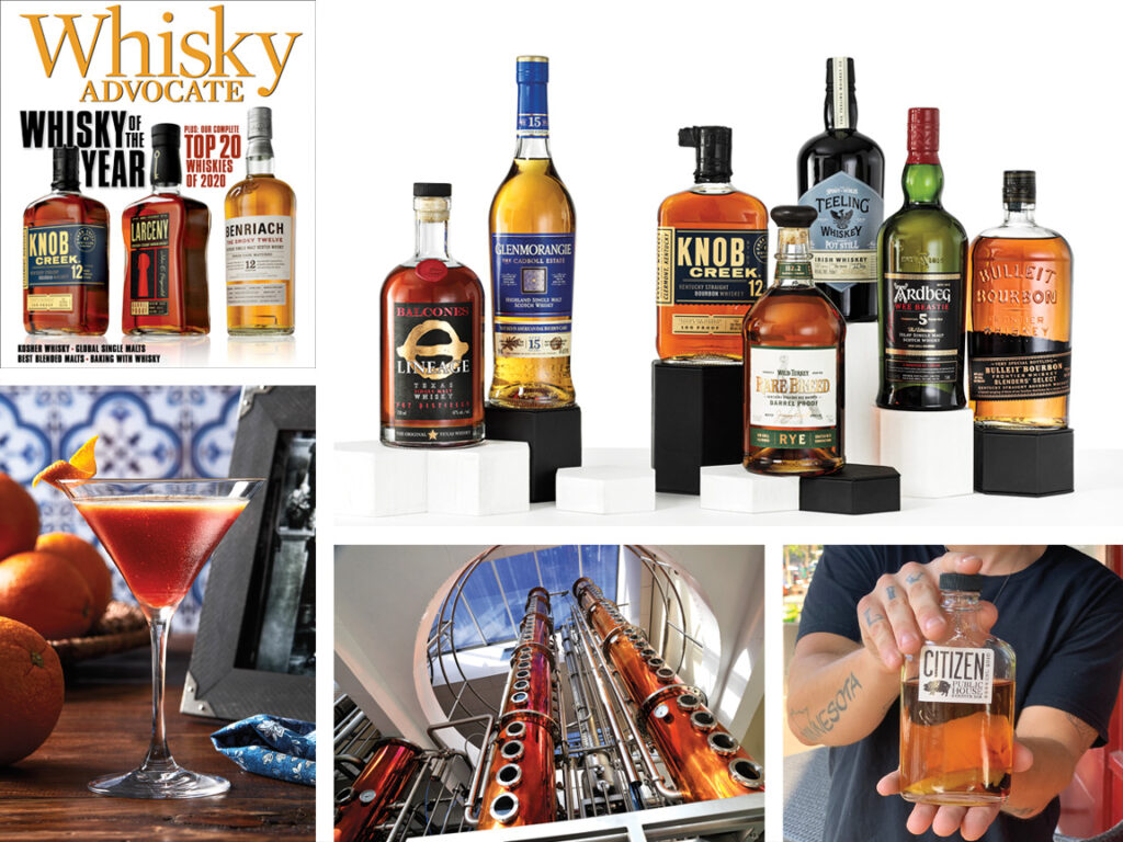 collage of images from the Winter 2020 issue of Whisky Advocate