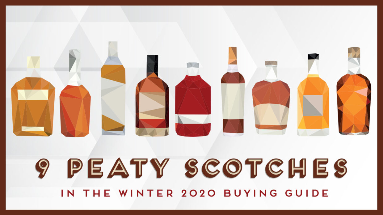 "illustration of 9 whisky bottles and the words ""peaty scotches"""