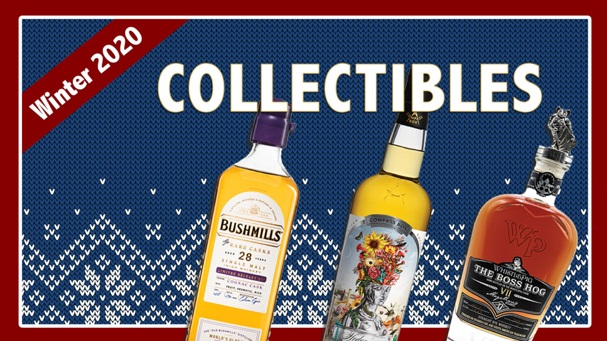 """Bushmills, Compass Box, and WhistlePig bottles on an illustrated background that says """"collectibles"""""""