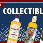 "Bushmills, Compass Box, and WhistlePig bottles on an illustrated background that says ""collectibles"""